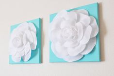 """TWO Wall Hangings -White Roses on Tiffany Blue 12 x12"""" Canvases Wall Art- Baby Nursery Wall Decor-"""