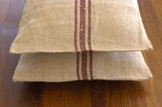"""Antique French Grain Sack Pillows 16"""" squared"""