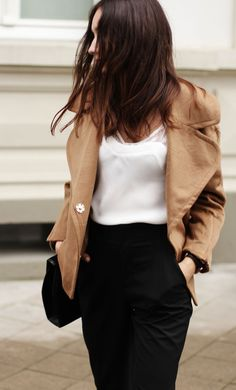 simply chic in white, black & camel