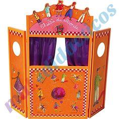 Teatro para #marionetas de madera, plegable, cortinas de tela, decorado con motivos de personajes de cuentos infantiles. #CuentosInfantiles #Teatro http://www.multididacticos.com