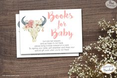 Bring A Book cards are a great addition to your baby shower! Great idea to have your guests bring a book instead of a card. Mail these insert cards along with the baby shower invitations to help build the new baby's library.   INSTANT DOWNLOAD - Bring a Book Instead of Card Insert Pink Boho Cow Skull Baby Shower. Find more coordinating printables at JanePaperie: https://www.etsy.com/shop/JanePaperie