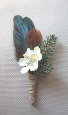 Evergreen and Feather Boutonniere by afoxwedding on Etsy, $12.00