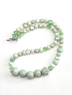 Light Green Pearl necklace  Ceramic Bead Focal  by kidalia on Etsy