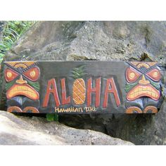 """Here is a hand made Tiki sign """"ALOHA"""", each letter of ALOHA is raised along with the pineapple in the middle. This sign measures 24 inches long by 8 inches wide. Great gift idea.Perfect for your home"""