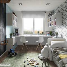 Kids Room Design Ideas with Brilliant Layout Design Study Room Design, Kids Room Design, Home Office Design, Home Office Decor, Guest Bedroom Office, Small Room Bedroom, Ikea Boys Bedroom, Baby Bedroom, Bedroom Ideas