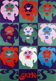 8 Lions and one Woman Original Polish CYRK poster designer: Tadeusz Jodlowski year: 1971 Graphic Design Posters, Graphic Design Typography, Graphic Art, Circus Poster, Circus Art, Polish Posters, Symbols Of Freedom, Hand Drawn Type, Exhibition Poster