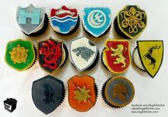Game of Thrones Cupcakes_Houses_Crests_Sigils_Shields_Frey_Tully_Arryn_Greyjoy_Tyrell_Targaryen_Stark_Lannister_Baratheon_Nights Watch_Martell_Unsullied