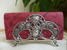 Купить Старинная серебряная салфетница немецкого дизайна «Ханауэр роза». Анти - серебряный, салфетница