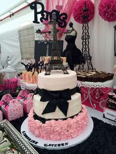 Stunning cake at a Paris birthday party! See more party ideas at CatchMyParty.com!: