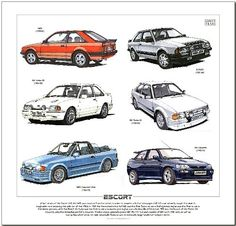 golden era Ford Escort to Print - RS Turbo, Cabriolet & RS Cosworth. Ready to frame. Ford Rs, Car Ford, Retro Cars, Vintage Cars, Ford Motorsport, Old School Cars, Ford Classic Cars, Ford Escort, Automotive Art