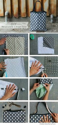 Reversible 1 Hour Tote Pattern by Haberdashery Fun Sewing Hacks, Sewing Tutorials, Sewing Crafts, Sewing Projects, Sewing Diy, Sewing Basics, Bags Sewing, Sewing Clothes, Learn Sewing