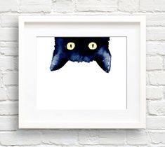 Black Cat - Art Print - Sneaky Black Cat - Wall Decor - Watercolor Painting by EveryDayShenanigans on Etsy Watercolor Cat, Watercolor Paintings, Painting Art, Black Cat Painting, Butterfly Watercolor, Art Paintings, Black Cat Art, Black Cats, Cat Art Print