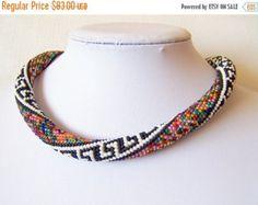 15% SALE Modern Sakura necklace  Beaded crochet rope by lutita