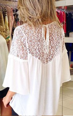Hollow Lace Patchwork Casual Loose 3/4 Sleeves Chiffon Blouse
