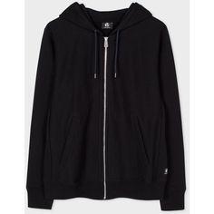 Paul Smith Men's Black Organic Loopback-Cotton Zip Hoodie ($145) ❤ liked on Polyvore featuring men's fashion, men's clothing, men's hoodies, black, mens zip up hoodies, mens hoodie, mens hoodies, mens hooded sweatshirts and mens zipper hoodies