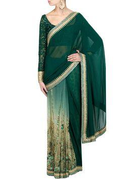 Ombre green embroidered half and half saree #Sabyasachi #DesignerSaree #Saree #Green #IndianDesigner #Wedding #OnlineShopping