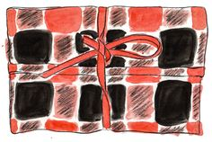 Illustration of Handmade Red Tartan Clutch - read more in my blog - DIY