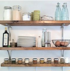 Install wooden shelves for extra storage.