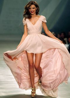 Miranda Kerr V-neck Capped Sleeves Pink Chiffon High-low Celebrity Dresses/Prom Dresses Miranda Kerr, Bridal Dresses, Prom Dresses, Formal Dresses, Wedding Dress, Evening Dresses, Dress Prom, Wearing Dresses, Bridesmaid Dresses