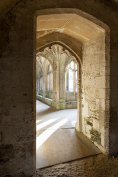 Doorway into the Cloisters at Lacock Abbey, Wiltshire.