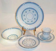Vintage Chunli Lilling China 5 Piece Setting Blue with Floral Pattern #ChunliLillingChina