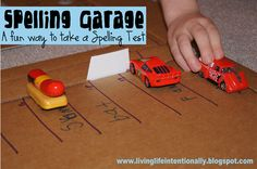 Spelling Garage - A fun way to take a spelling test or practice writing words!
