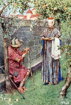 "Elizabeth went on her mission of pity. Illustration by Eleanor Fortescue-Brickdale from ""The story of Saint Elizabeth of Hungary"" (1910)"