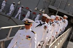 Coming home in dress whites