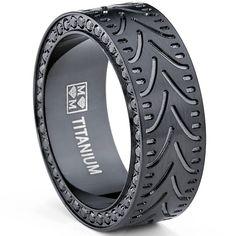 Oliveti Men's Black Titanium Black Cubic Zirconia Comfort Fit Ring (8 mm)   Overstock.com Shopping - Big Discounts on Men's Rings