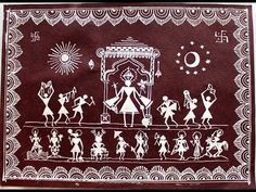 Warli Painting from Maharashtra Worli Painting, Sketch Painting, Painting Videos, Watercolour Painting, Madhubani Art, Madhubani Painting, African Art Paintings, Indian Folk Art, Tribal Art