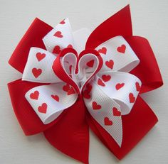 Valentine Girls Double Stacked Red/White Grosgrain by bowtowne, $5.95