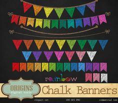 Rainbow Chalkboard Bunting Banners by Origins Digital Curio on Creative Market