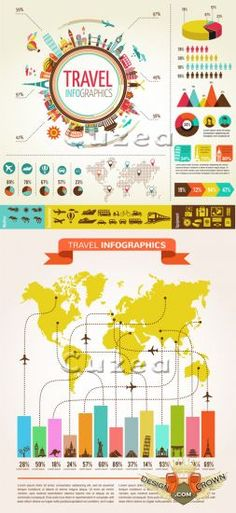 Travel graphics, plane routs, world maps illustrations