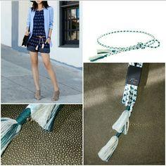 O//S Pink /& Blue Diamond Weave Cotton Skinny Tassel Rope Belt J Crew NWT
