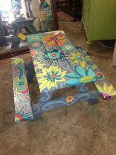 Use these free picnic table plans to build a picnic table for your backyard, deck, or any other area around your home where you need seating. Building a picnic . Funky Painted Furniture, Painted Chairs, Repurposed Furniture, Cool Furniture, Pallet Furniture, Antique Furniture, Refurbished Furniture, Backyard Furniture, Bedroom Furniture