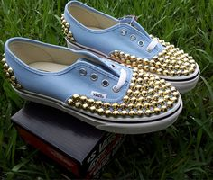 WEEKEND SALE Gold studded vans by TyeDyeLand on Etsy, $114.00