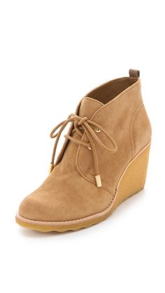 Tory Burch Vikki Suede Wedge Booties. Wavy sole!   Oh honey, they dont have to be gift wrap.  in and of themselves, they are gift wrapped already. Fall Shoes, Cute Shoes, Me Too Shoes, Beautiful Shoes, Wedge Heels, Heeled Boots, Shoe Boots, Tory Burch, Fashion Shoes