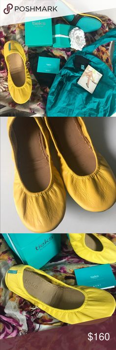 Tieks yellow leather flats complete package Tieks shoes Size 8  But fit like 7.5  Color is mustard  Paid $175.00 Designer Ballet flat to wear all day everyday   Comes with box and bow and 2 bags. Aunt is recovering from broken foot and these shoes are the best for her.   Super butter soft leather and incredible cruising for comfort. Foldable for for travel.   Authentic and purchased 2 months ago. My aunt wants to sell these or trade for bigger size in a size 9 same color or the color, clover…