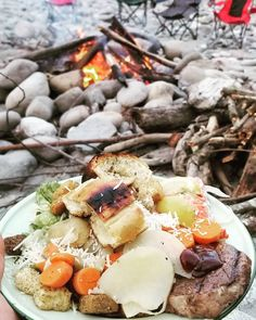 One of the best ways to have a meal. Campingfood, Camping Meals, Camembert Cheese, Camp Meals, Camping Foods