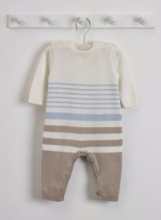 All in One Blue, Mink and Cream Stripes 0-3m Oeko-Tex certified Cotton