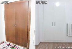 antes y después de lacar puertas armario