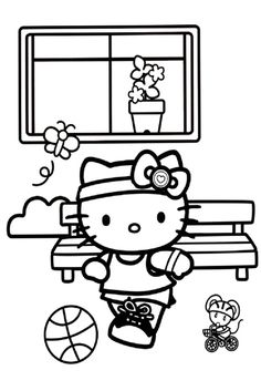 Hello Kitty Sports Coloring Pages