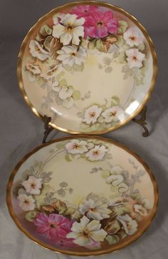 2 ANTIQUE French LIMOGES ELITE PORCELAIN HAND PAINTED SIGNED Plates A. LAJUS