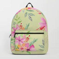 Bouquet of flowers - green Backpack Light Pink Backpack, Yellow Backpack, Green Backpacks, Tech Accessories, Bouquet, Wall Art, Flowers, Bags, Design