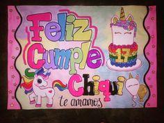 Pancarta de cumpleaños moda unicornio! Para mandar a hacer la tuya escribenos al whatsapp 0414-9758612