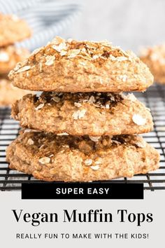 Top Of The Muffin To YOU! Delicious, easy, and fun to make, these muffin tops are vegan, whole-grain and oil-free. Healthy Cookies, Healthy Snacks, Yellow Sweet Potato, Vegan Baking Recipes, Vegan Muffins, Overripe Bananas, Create A Recipe, Muffin Top