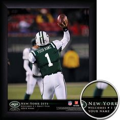 New York Jets NFL Football - Personalized QB Action Hero Print / Picture. Thrilling game-day photos make your greatest football fan the on-field hero with our Personalized NFL New York Jets Action Hero Prints. Our most exciting sports print displays your name in true-life NFL photographs as YOU make game-winning manoeuvres. Optional framing with mat is available. Perfect for gifts, rec room, man cave, office, child's room, etc. ( www.oakhousesportsprints.com )