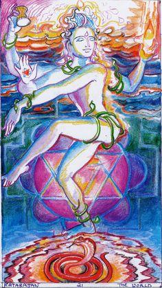 One of the two World cards from the Sacred India Tarot by Rohit Arya - this one portrays Shiva Shiva Art, Shiva Shakti, Hindu Art, Bhagavad Gita, Indian Gods, Indian Art, Star Tarot, Dancing Figures, Nataraja