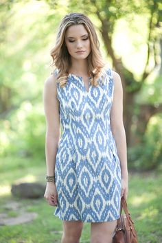 The Christy ikat shift dropped waist dress with by SICCOUTURE