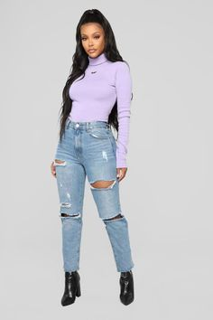 Don't Bother Me Top - Lavender – Fashion Nova Winter Fashion Outfits, Fall Winter Outfits, Casual Outfits, Cute Outfits, Grunge Outfits, Lavender Outfit, Lavender Shirt, Outfits Con Camisa, Outfits Mujer